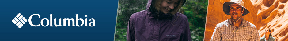 Columbia - a young women wearing a purple columbia rain jacket in the forest while raining and a couple hiking in a sunny dry canyon wearing a columbia hat