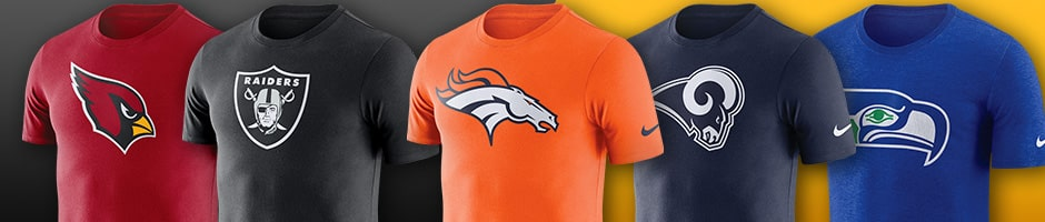 5 west coast team football tshirts overlaying a black and orange background